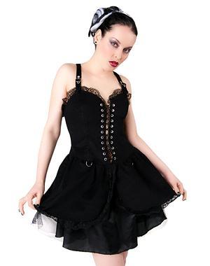 Punk Mini Dress Denim - Black