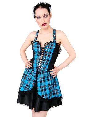 Punk Mini Dress Tartan - Light  Blue