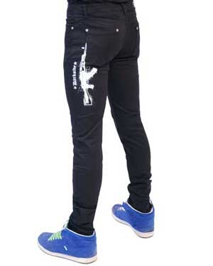 Darkside-Mens White AK47 Regular Rise Skinny Jeans