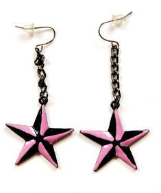 Rosa/svarta stjärnor - örhängen
