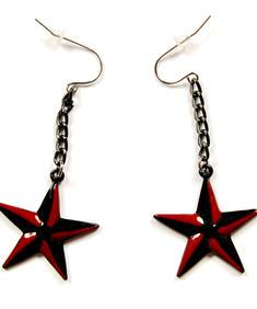 Örhängen,Röda/svarta stjärnor