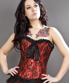 Lily Red Lace Overlay Korsett