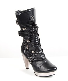 New Rock Shoes-Silver Metal Plate Boots