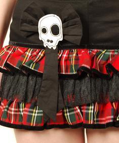 Hell Bunny-Skull Ribbon Layer Skirt - (röd)