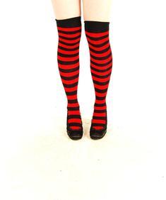 Knästrumpor-Big Stripe-Red