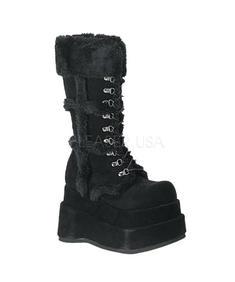 Demonia-Bear Furry-shoes/svart
