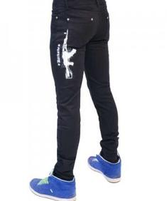 Mens White AK47 Regular Rise Skinny Jeans