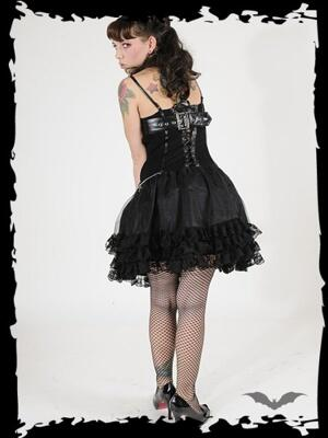 Queen of Darkness-Black Corset Dress with Chains and Lace