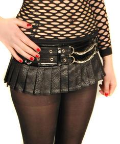 Living Dead Souls-lack kort kjol med nitar/svart