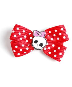 Hårspännen- Hair Bow  Red Polka N Skull