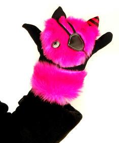 Handskar med rosa och svart färg