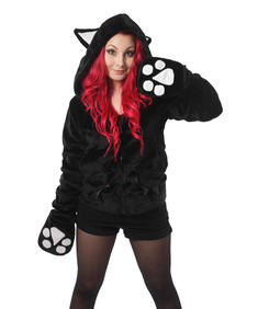 Angel Kitty Hood Black Cupcake Cult
