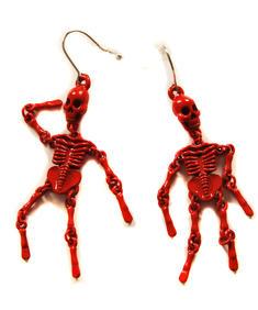 Röda skelett örhängen