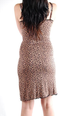 Queen of Darkness-Long leopard print dress with black lace