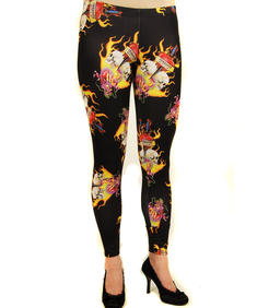 Leggins-Hearts and flames