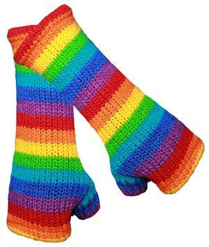 Hand Warmer Gloves Wool - Rainbow