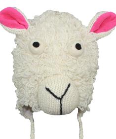 White Sheep Wool Animal Hat