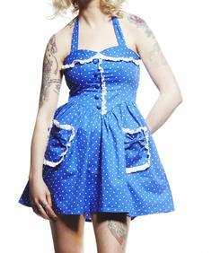 Hell Bunny-Mimi Dress Polkadot-Blue