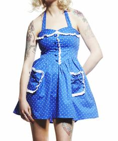 Hell Bunny-Mimi Dress Polkadot-Blue