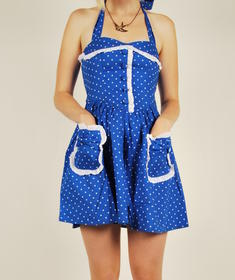 Hell Bunny-Blue Dotti Dress