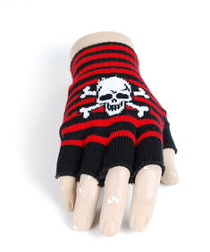 Handskar-Fingerless Skull-Blk/Red