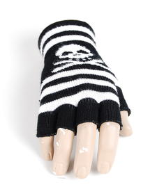 Handskar-Fingerless Skull Stripes-Blk/White