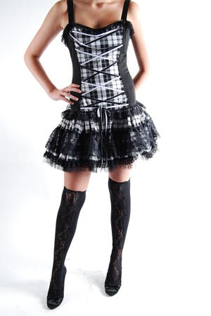Klänning-Flare Mini Dress Tartan
