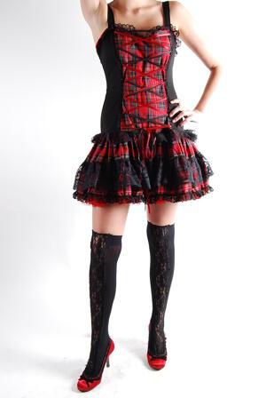 Klänning-Flare Mini Dress Tartan Red-P