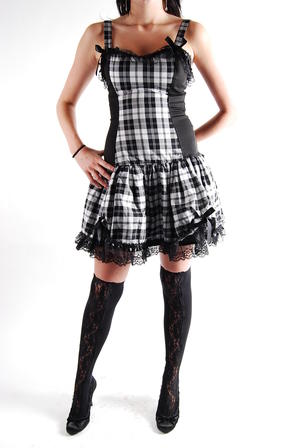 Klänning-Flare Mini Dress Tartan wht-P