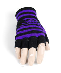Handskar-Fingerless Skull Stripes-Blk/Purple