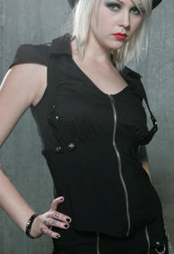 LIP -SERVICE /CAP SLEEVE TOP WITH SUSPENDERS/BLACK