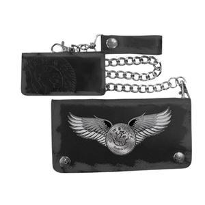 New Rock - Black Chain Wallet Logo W/ Wings