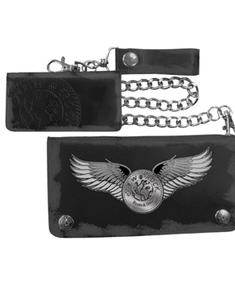 New Rock - Black Chain Wallet Logo W/ Wings