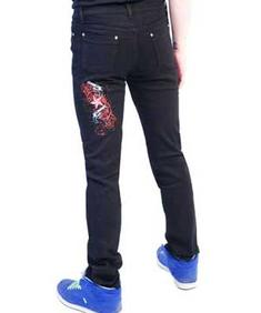 Darkside-Mens Red Gun And Star Regular Rise Skinny Jeans
