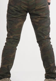Unisex JUNKIE-CAMO PRINT BLACK STRETCH DENIM
