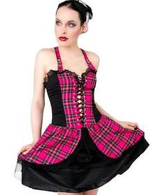 Punk Mini Dress Tartan - Pink