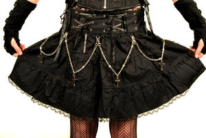 Queen of darkness - Black skirt with chains & crosses