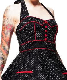 Hell Bunny Vanity Polka Dot 50s Dress Rockabilly Pin Up Swing Retro Cool Halter
