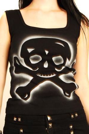 Living Dead Souls-Silver Skull top