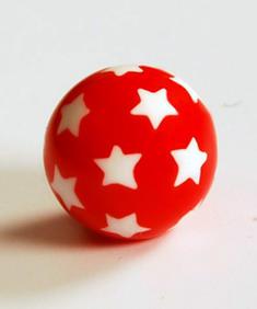 Röd/vita stjärnor - piercingkula