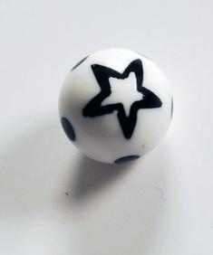 Svart/vit stjärna - piercingkula