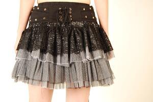 Queen of Darkness-Gray Web Skirt