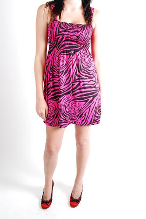 Give More-Smock Dress Pink Zebra
