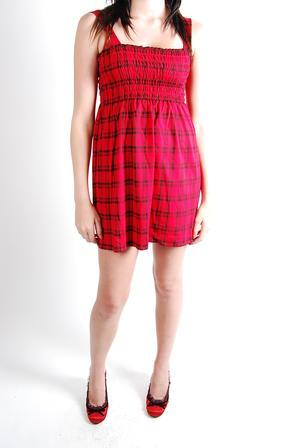Give More-Smock Dress Red Tartan