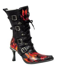 New Rock Shoes- Feminie Metal Flame